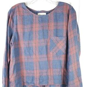 CLOTH & STONE blue red plaid lace up back boho top